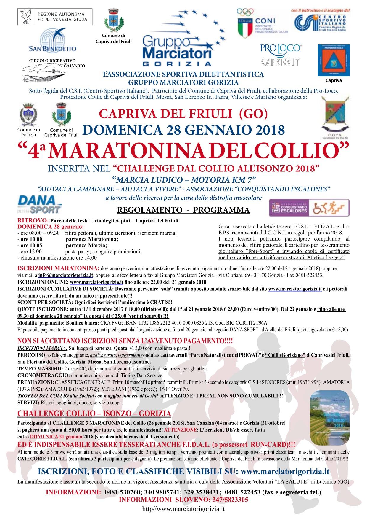Calendario Fiasp Fvg.Friuli Venezia Giulia Gennaio 2018 Maratona Marathon